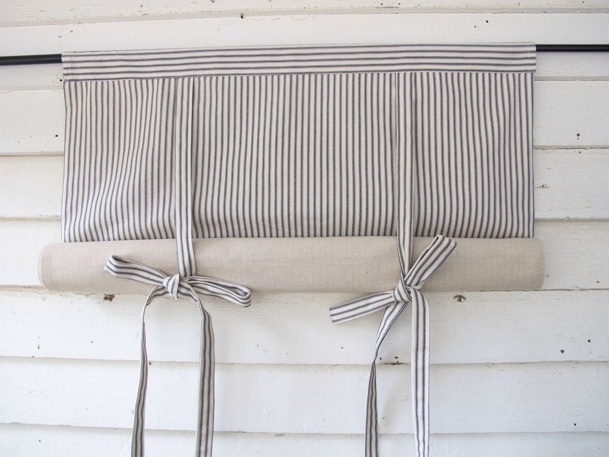 How to make roll up curtains - Black Ticking Roll Up Window Shade Reversible Tie Up Rolled Curtain By Bettyandbabs On Etsy Https