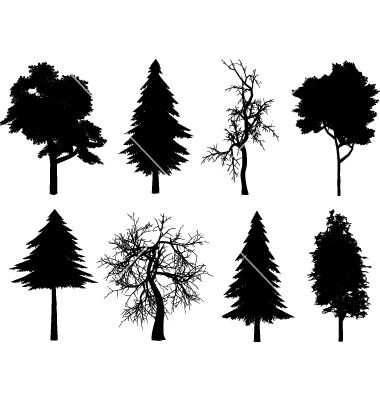Free tree silhouettes vector pack.. More Free Vector Graphics, www ...