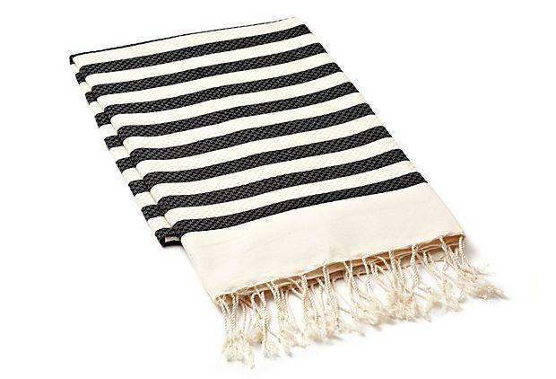 Small Stripe Fouta Towel, Charcoal on OneKingsLane.com