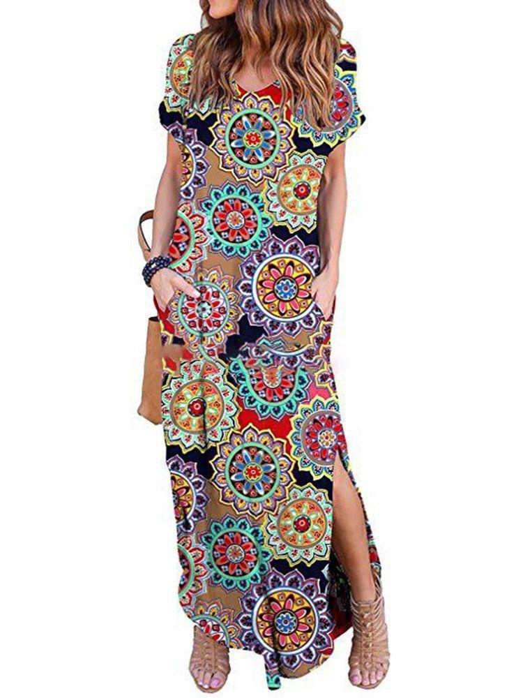 Bohemian floral print split vneck backless maxi dress