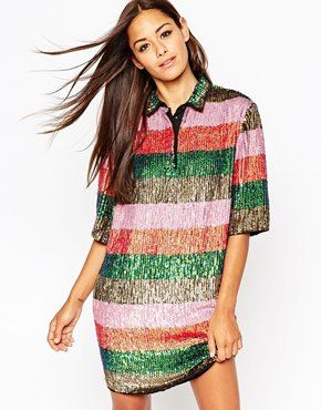 ASOS Premium Sequin Stripe Polo Mini T Shirt Dress