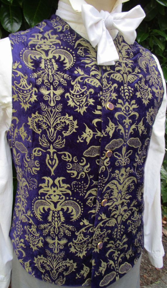 a627b64d9afb Mens Royal Purple   Gold Detailed Waistcoat  Vest by royalcostumes ~ LOVE  material!