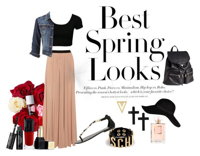 """Spring"" by blancucha ❤ liked on Polyvore featuring H&M, Enza Costa, Gioseppo, River Island, Moschino, Gorjana, Guerlain, Chanel, maurices and Spring"