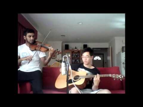 """Bridal party entrance: violin and guitar cover of """"Everlong"""" by Foo Fighters"""