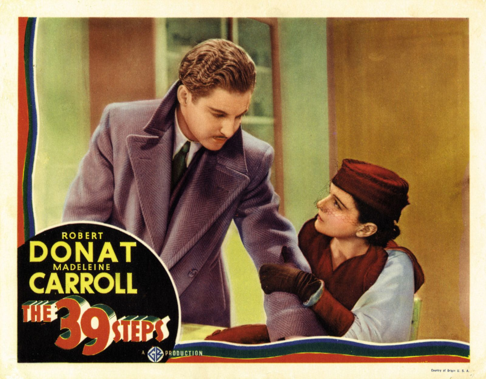 Gaumont-British Picture Corp., 1935.  Directed by Alfred Hitchcock.  Camera:  Bernard Knowles.  With Robert Donat,  Madeleine Carroll, Lucie Mannheim, Godfrey Tearle, Peggy Ashcroft, John Laurie.