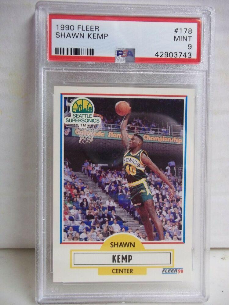 1990 fleer shawn kemp rookie psa mint 9 basketball card