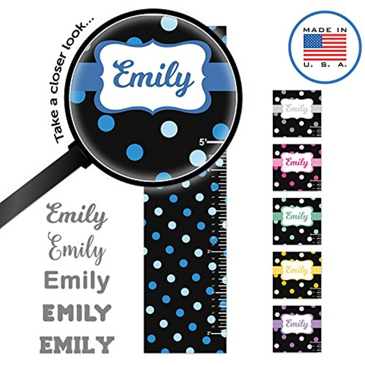 Wallclipz personalized growth chart fabric wall decal blue polka wallclipz personalized growth chart fabric wall decal blue polka dots on black with name geenschuldenfo Images