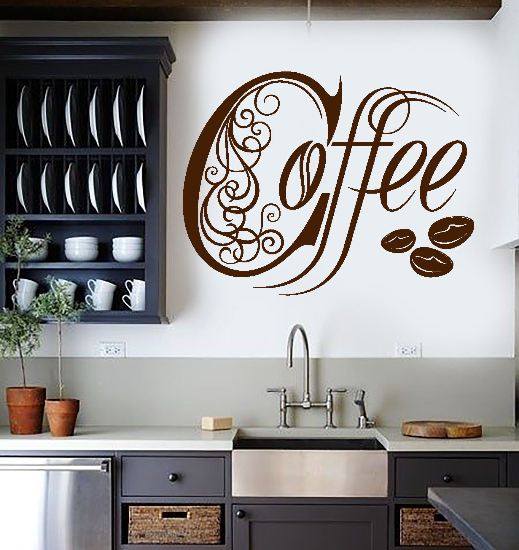 Vinyl wall decal kitchen coffee shop house cafe decor for Mural coffee shop