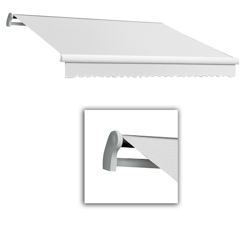 Maui 10 Ft Motorized Retractable Awning Right Side Motor 8 Ft Projection In Off White Retractable Awning Awning Retractable