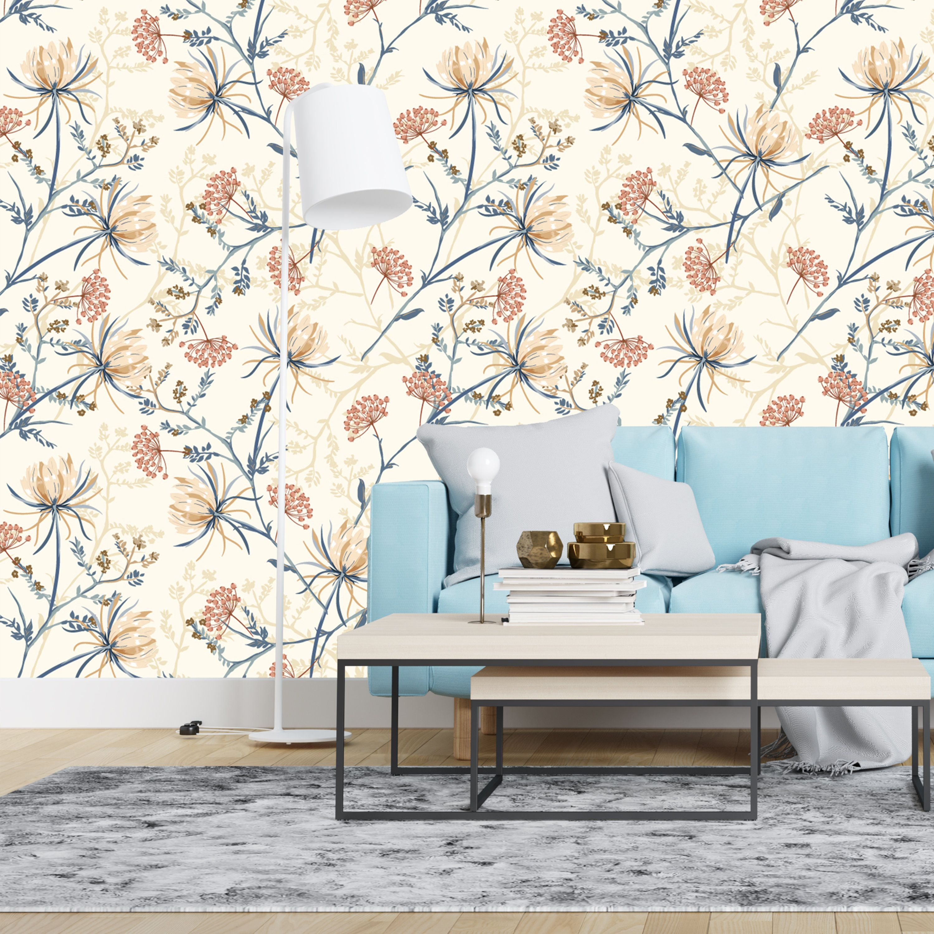 Peel And Stick Blooming Oriental Flowers Removable Wallpaper Etsy Cafe Decor Inexpensive Home Decor Home Decor