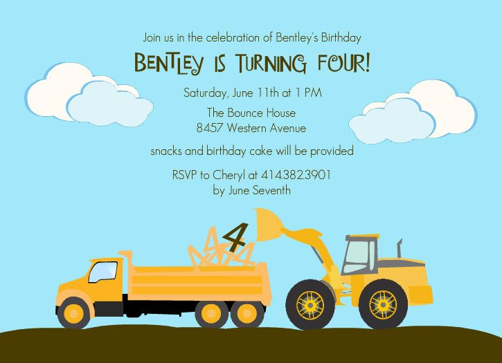 1000 images about Dump Truck Birthday – Dump Truck Party Invitations