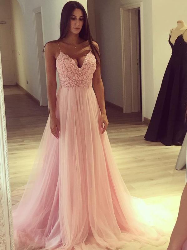 A-line V-neck Spaghetti Strap Pink Long Prom Dresses APD2781