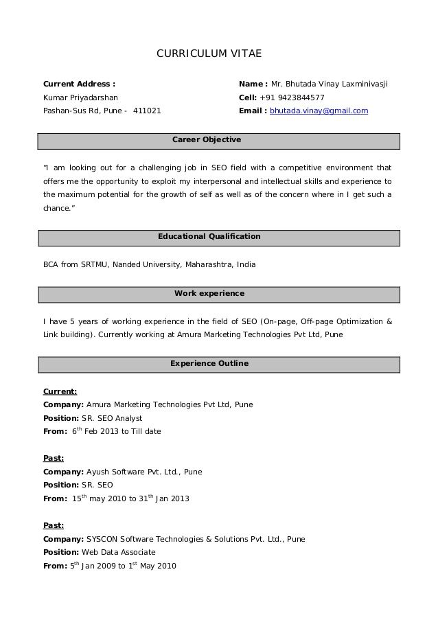 Resume Format For 5 Years Experience In Marketing Resume Format Marketing Resume Resume Format For Freshers