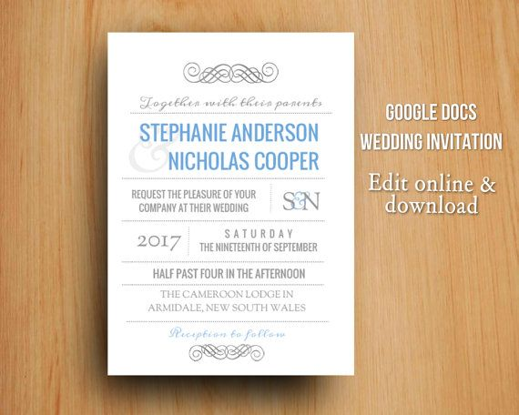 DIY Google Docs Printable Modern Wedding Invitation By GTemplates