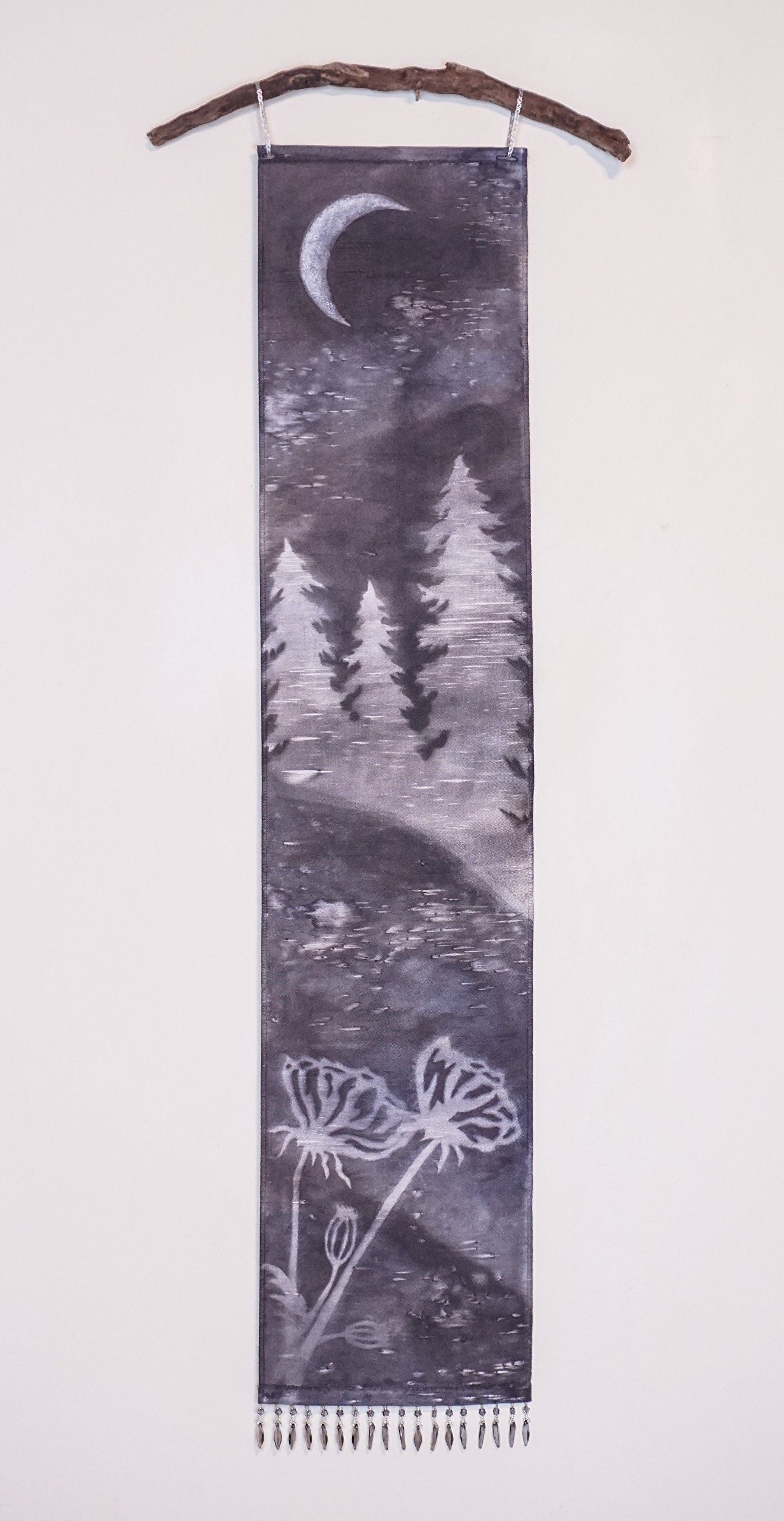 Black and white tree and moon wall art tapestry misty nature