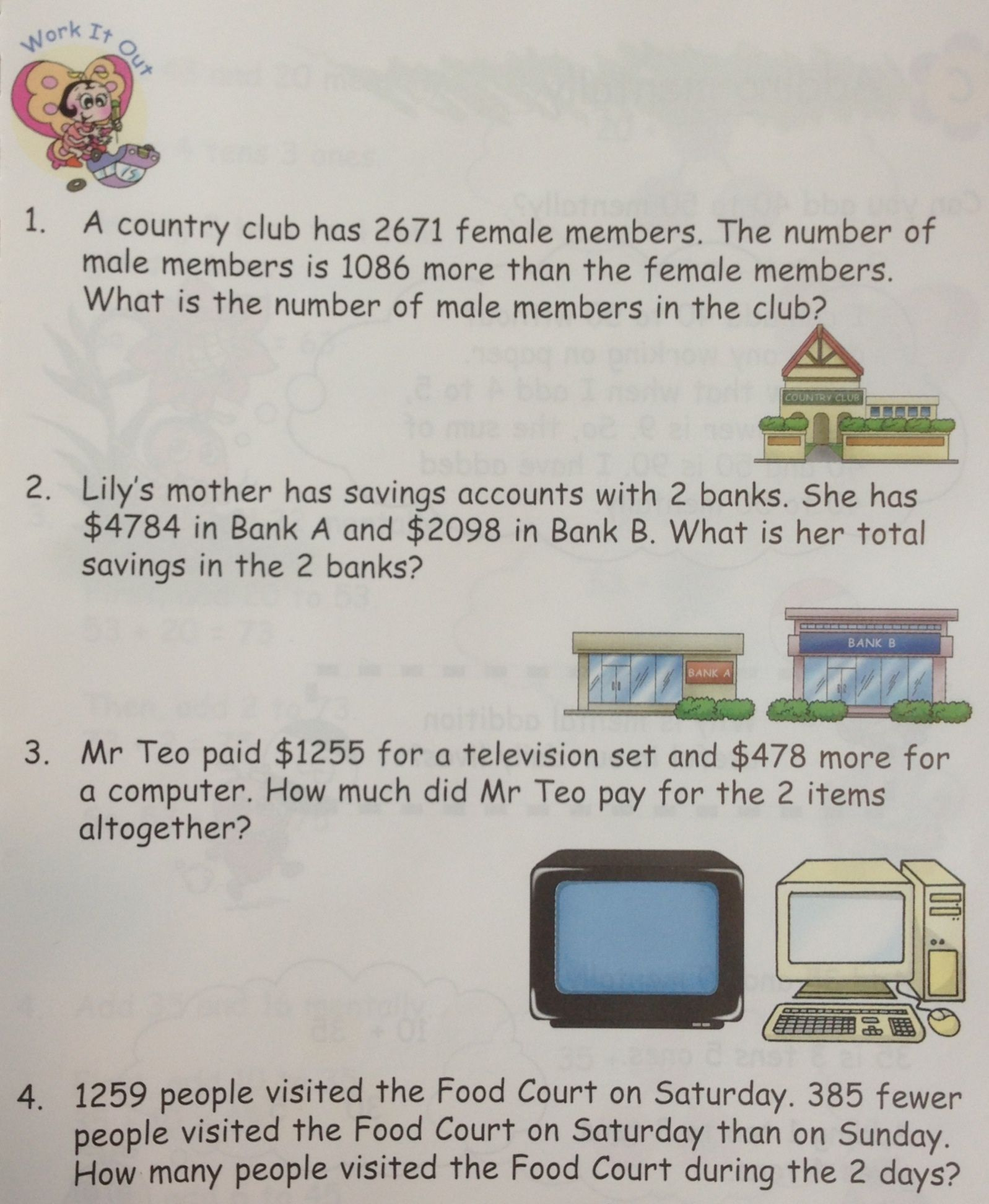 some word problems on addition taken from in step maths 3a singapore math grade primary. Black Bedroom Furniture Sets. Home Design Ideas