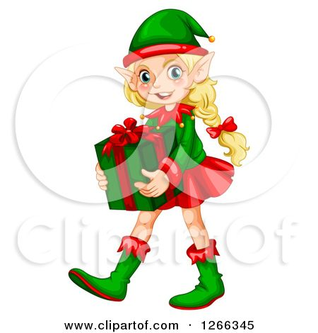 1266345 clipart of a blond female christmas elf carrying a gift rh pinterest ca christmas cartoon elves clipart free christmas elves clipart