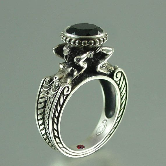 CARYATID Silver Ring with Black Spinel RESERVED for by WingedLion, $245.00