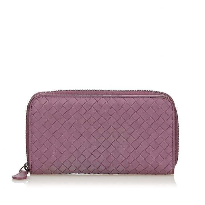 Bottega leather wallet purple leather leather