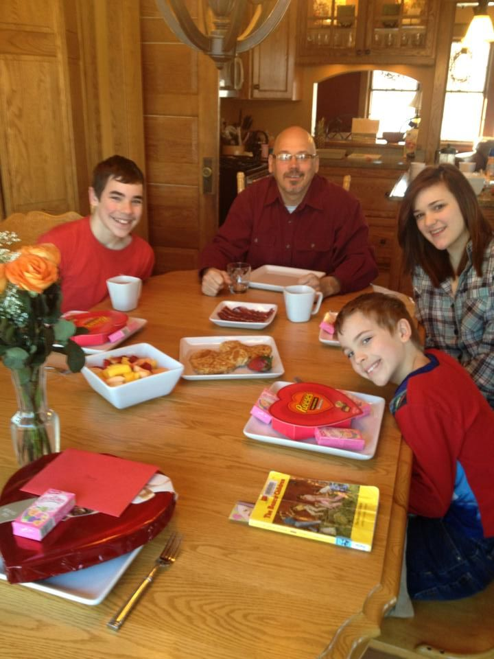Our Valentine breakfast complete with heart shaped pancakes and chocolate!