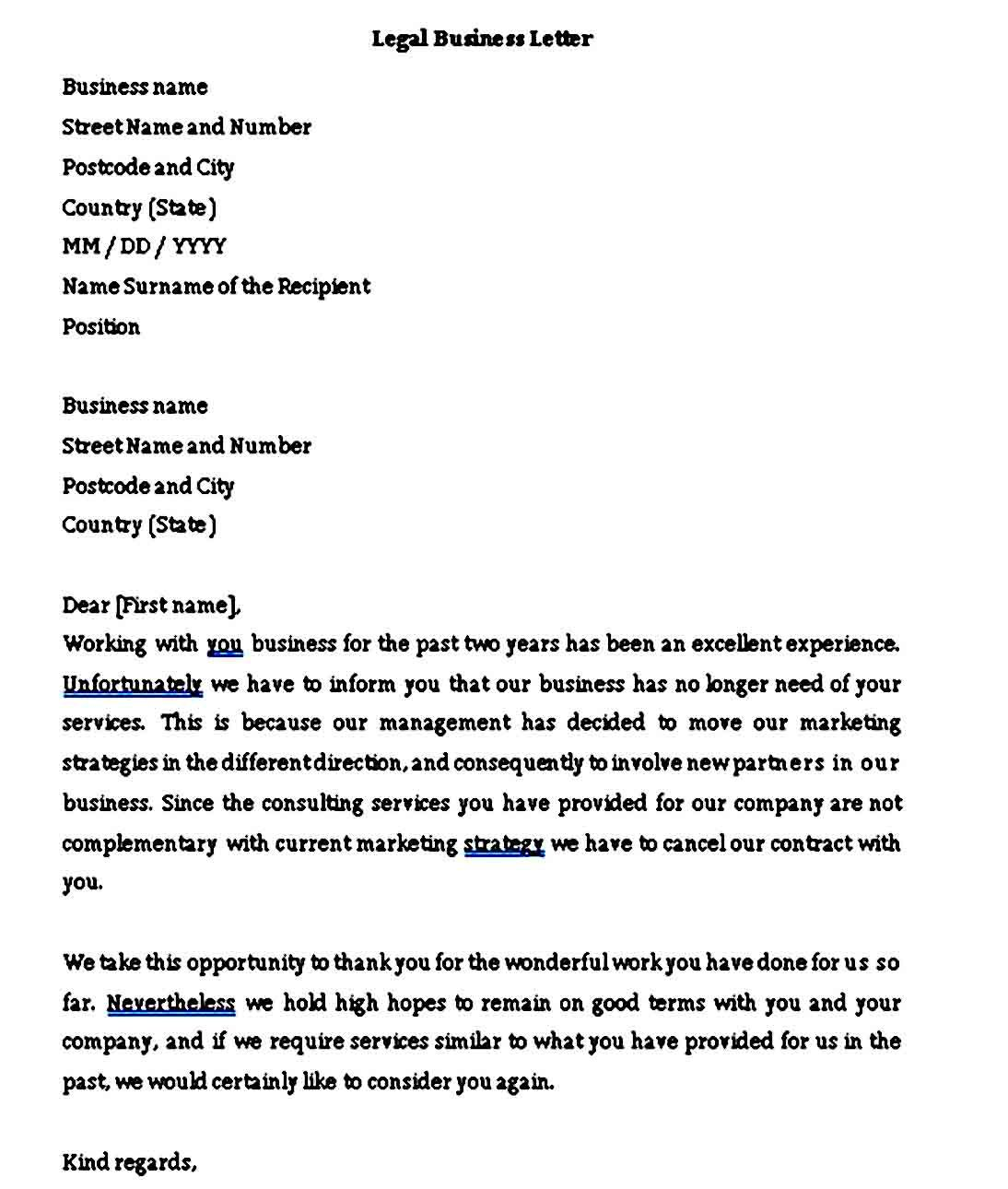 Legal Letter Formal Sample One page business plan, Legal