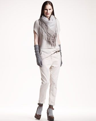 Cropped Paillette Sweater, Two-Tone Fringed Scarf & Corduroy Cigarette Pants by Brunello Cucinelli at Neiman Marcus.