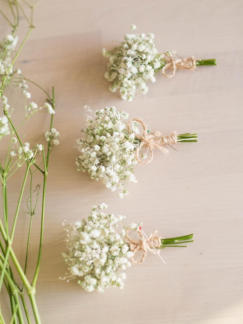 Dried babies breath flowers boutonniere mens rustic