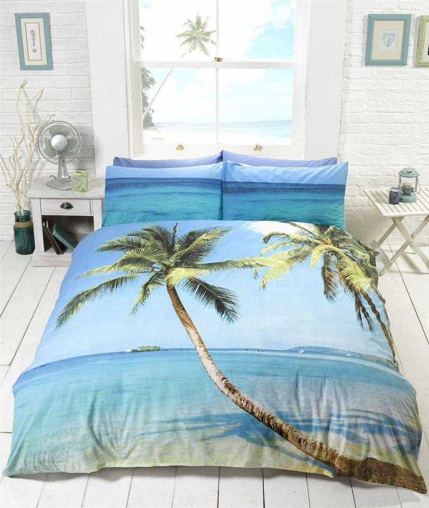 Beach Scene Tropical Island Palm Tree Bedding Duvet Cover