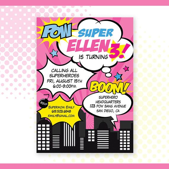 custom printable superhero girl birthday invitation invite pink