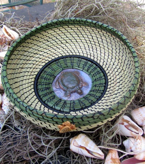 by Ruth Danger,Turtle Sweet grass basket.