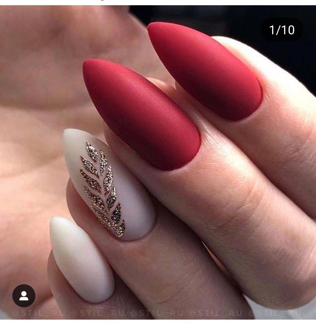 Matte Red Nails With Art