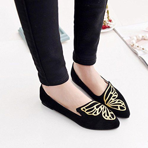 cc88c5dc144 Embroidery Butterfly Flat Shoes Women Boat Shoes Outdoor Sandals Soft Slip  On Shoes Hemlock (US