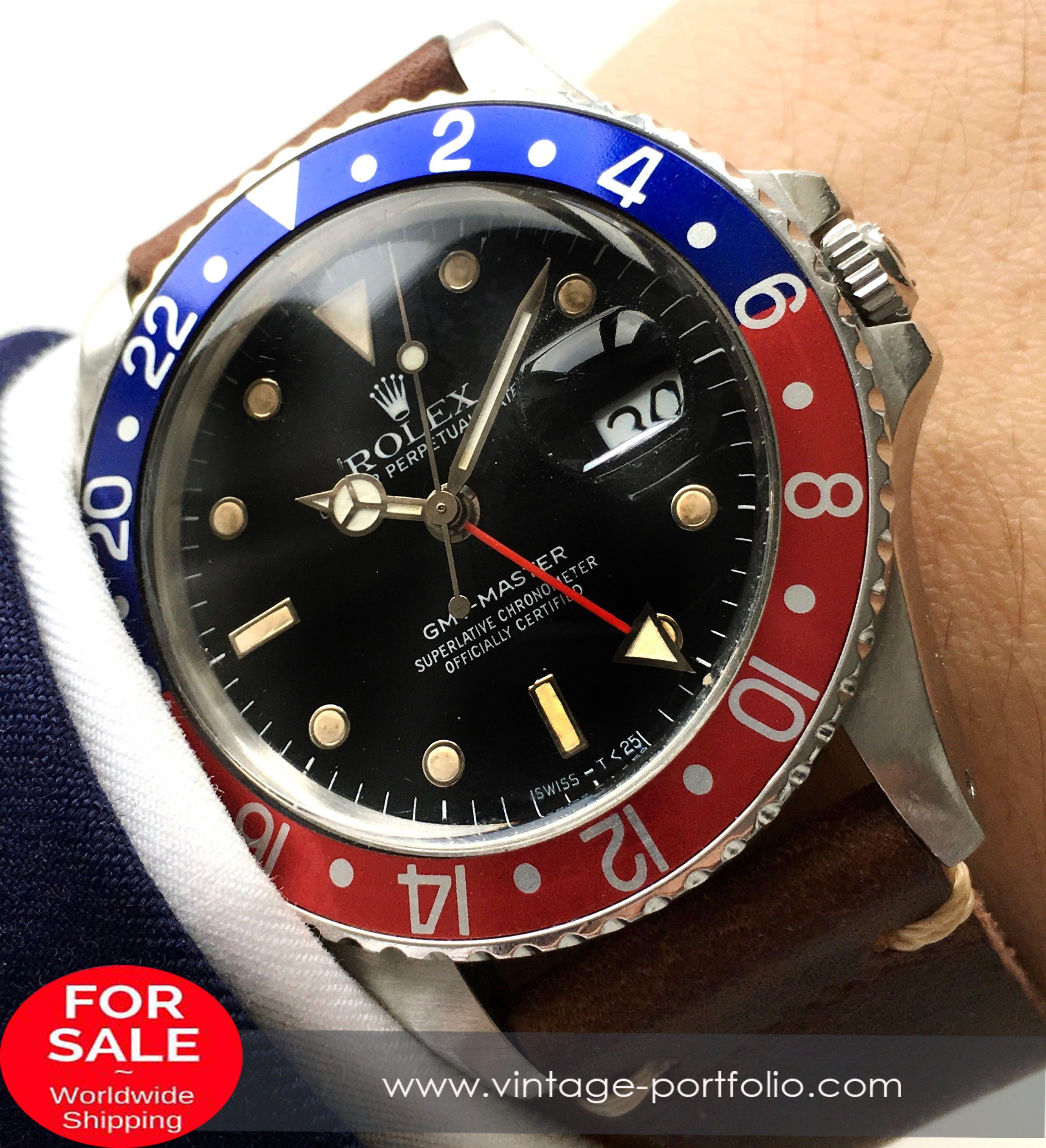 Genuine Rolex GMT Master 1 Pepsi 16750 Plexiglas with Vintage Ecru ...