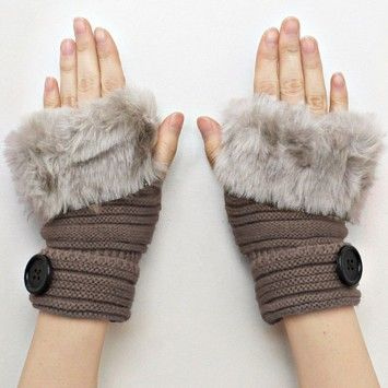 Khaki Knitted Fur Trimmed Fingerless Button Accent Gloves. Get the lowest price on Khaki Knitted Fur Trimmed Fingerless Button Accent Gloves and other fabulous designer clothing and accessories! Shop Tradesy now