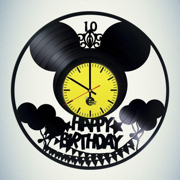 Happy Birthday Art Vinyl Record Handmade Wall Clock | Happy birthday ...