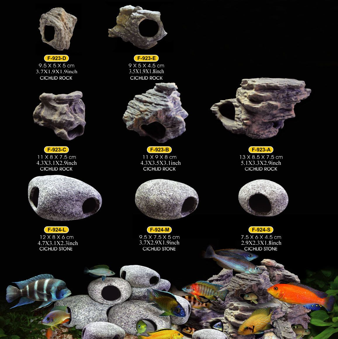 Cichlid stones ceramic aquarium rock cave decoration for for Aquarium cave decoration