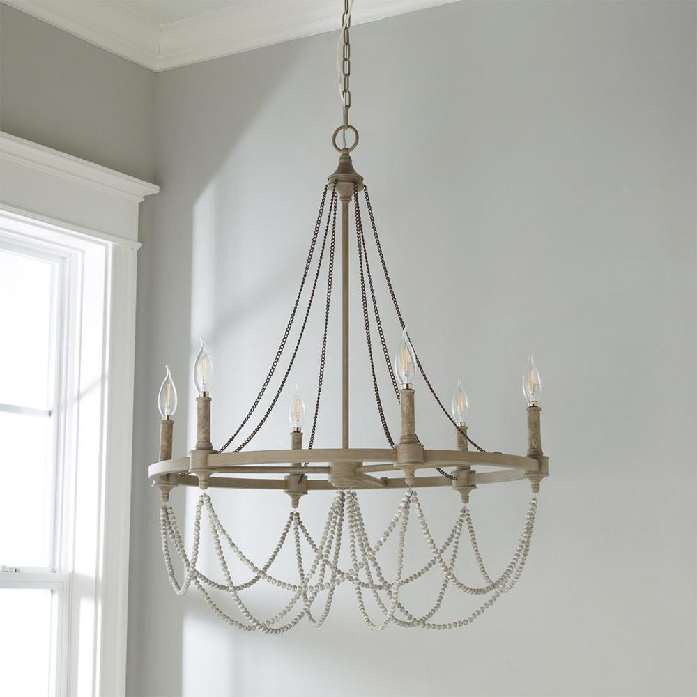 Elegant Rustic Drape Chandelier - 6 Light | Wood bead ...