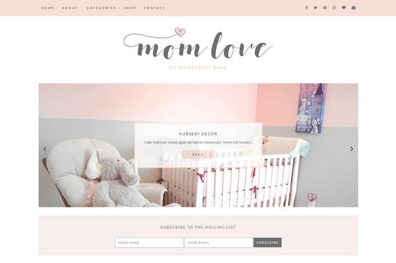 Blogger Template Responsive - Premade Blogger Templates - Blog Theme Design - Mommy Blogger Template