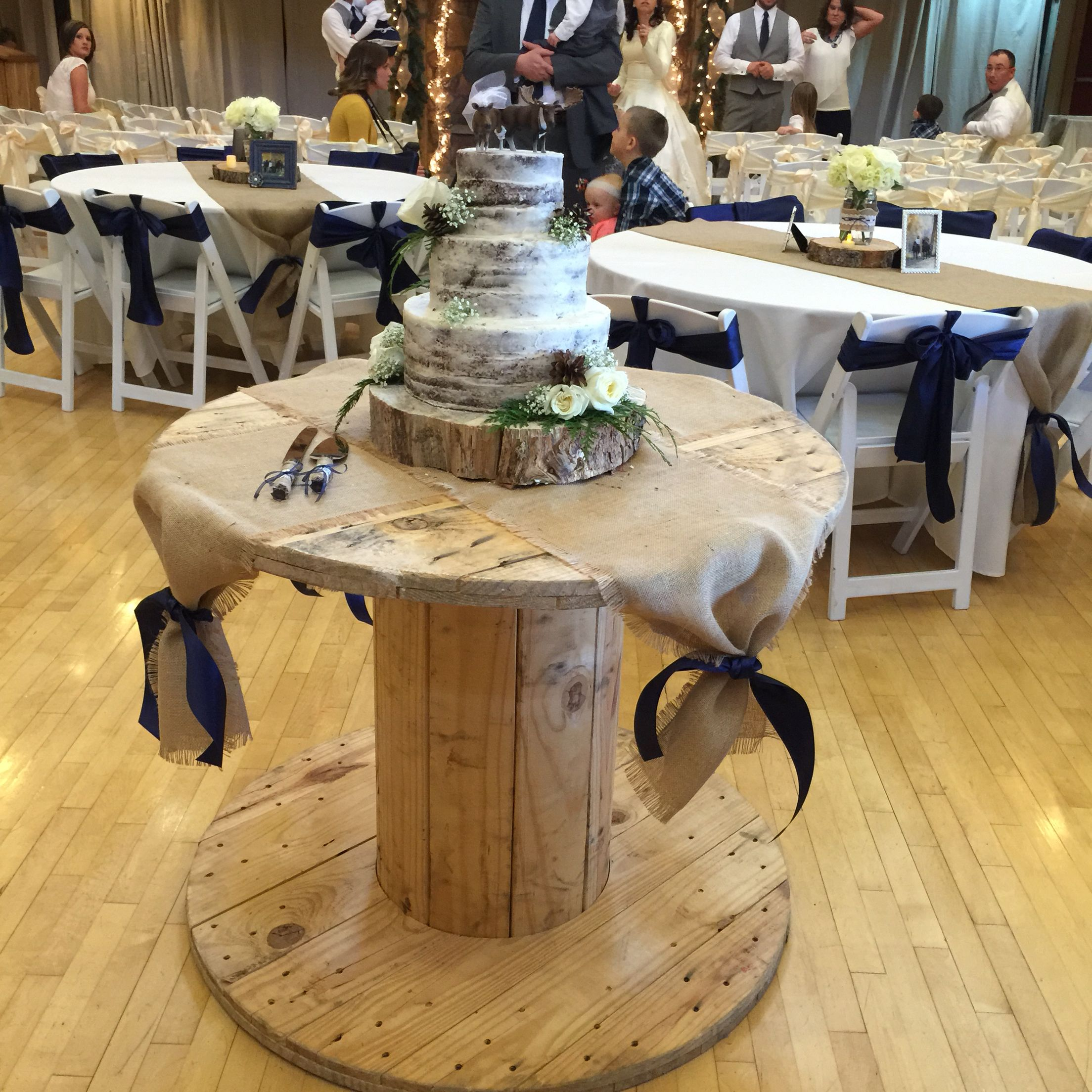 Wooden Candy Table ~ Naked cake on large wooden spool … spools pinte…