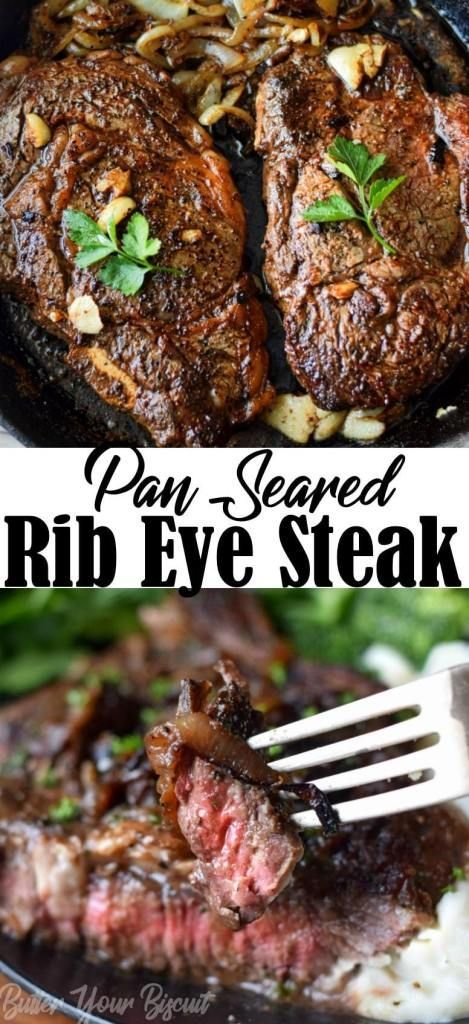 Pan Seared Garlic Rib Eye Steak