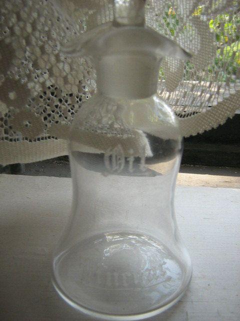 Vintage Etched Glass Oil & Vinegar Server With Silver Engraved Lid