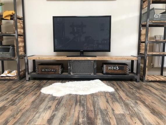 Photo of Industrial TV stand | Wood and Steel Bench | Living room sideboard | Hallway seat | Storage unit