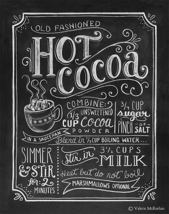 Hot Cocoa Recipe Print Print Chalkboard Christmas by LilyandVal ...