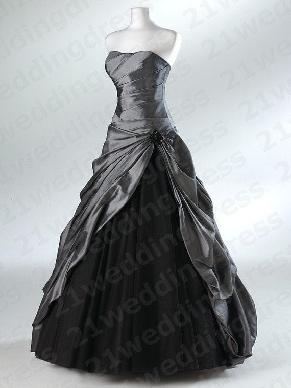 Strapless Ruffles High Low Gray Taffeta Black by 21weddingdress ...