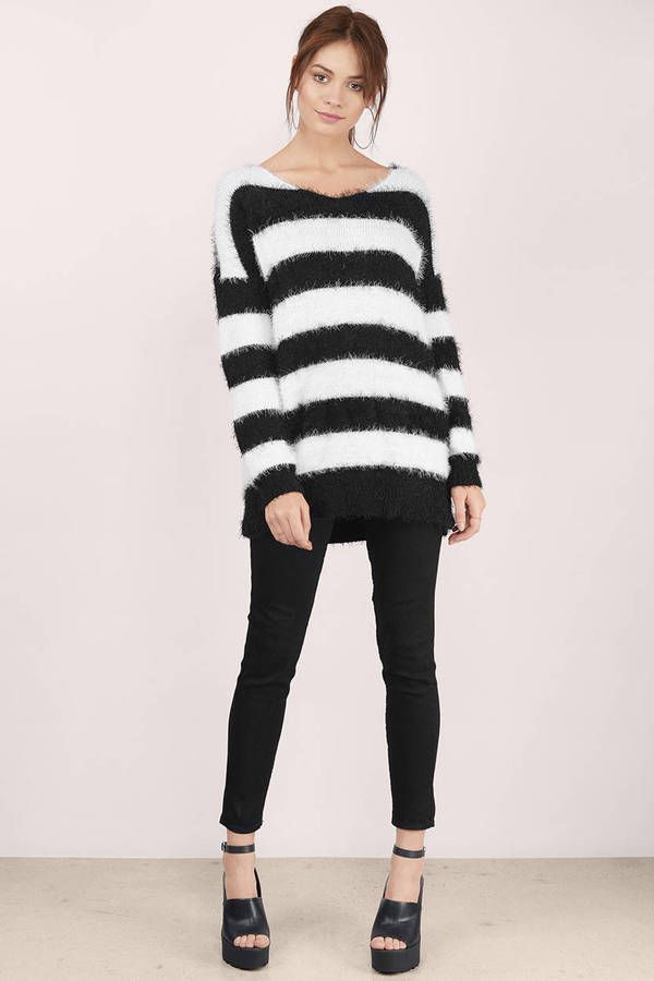 40489ca0bfe6 Fuzzy Black   White Stripped Sweater