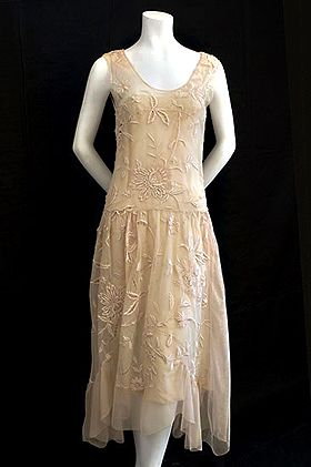 delicate embroidered 1920s dress has graceful side draperies that ...