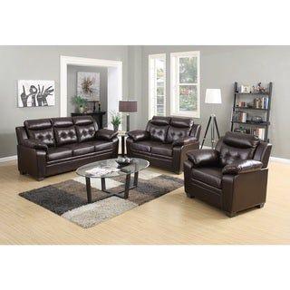 Admirable 3 Piece Modern Bonded Leather Sofa Set Brown Us Pride Machost Co Dining Chair Design Ideas Machostcouk