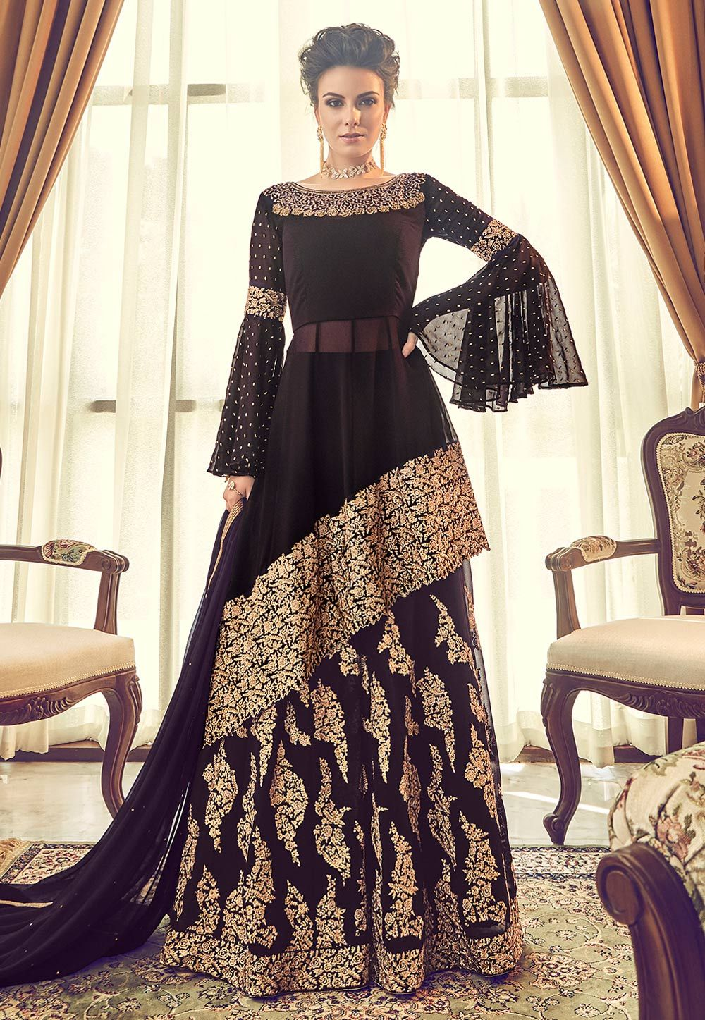 Brown Georgette Embroidered Designer Flared Palazzo Suit 165803 Designer Party Wear Dresses Designer Dresses Indian Party Wear Dresses