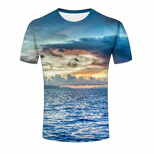 Amazing Sunset Seascape Short Sleeve Mens 3D T Shirts Tees L