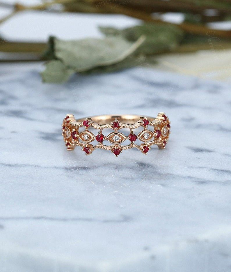 Photo of Vintage Wedding Ring Rose Gold Ruby Halo Diamond Half Eternity Cluster Birthston …
